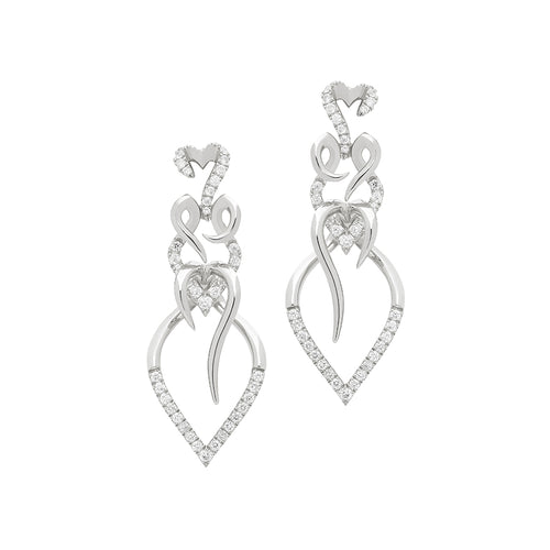 Entwine drop earrings white