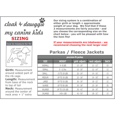 Precision Fit Parka Size Guide