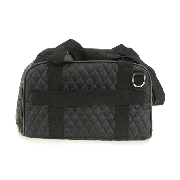 Diamond Quilt Big Dog Tote - Black. Waterproof. Featherwieght. Bigger Small Dogs to 20 LBS