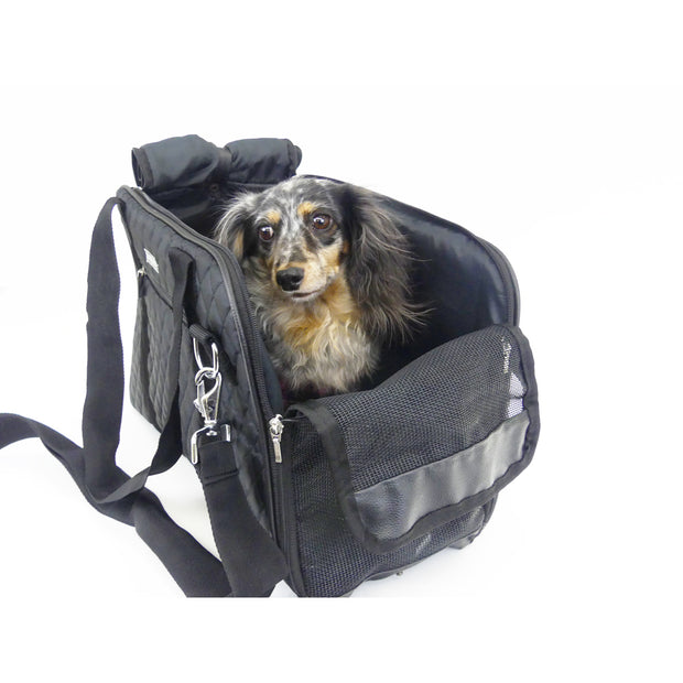 cloak and dwggie carrier tote for teacup small dogs in black