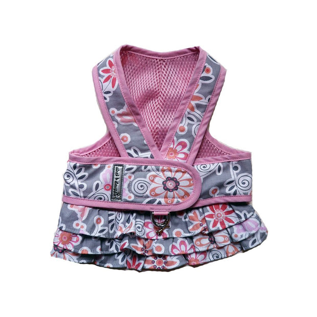 Cloak and Dawggie Step n Go Harness Dress Pink Floral Print Dog Harness with Matching Skirt