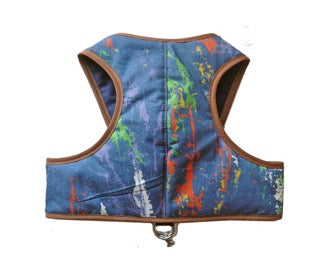 Cloak and Dawggie 4550 Classic step in dog harness in a denim splash print. My Canine Kids