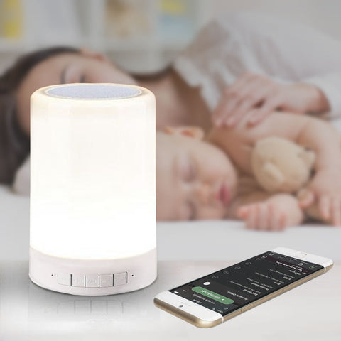 LED Night Light for Kids with Speaker and Touch Control - Bedside Baby Nursery Bluetooth Lamp