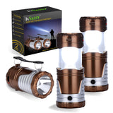 Solar LED Camping Lantern Flashlight with Handle by InSassy - Collapsible Lamp - Version 2