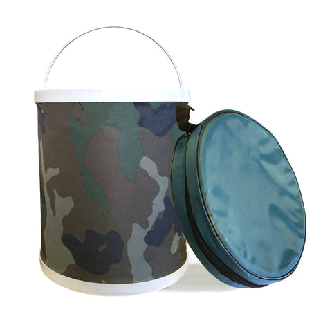 InSassy Compact Collapsible Water Bucket – Perfect for Camping, Gardening and Outdoors –  Camo Color