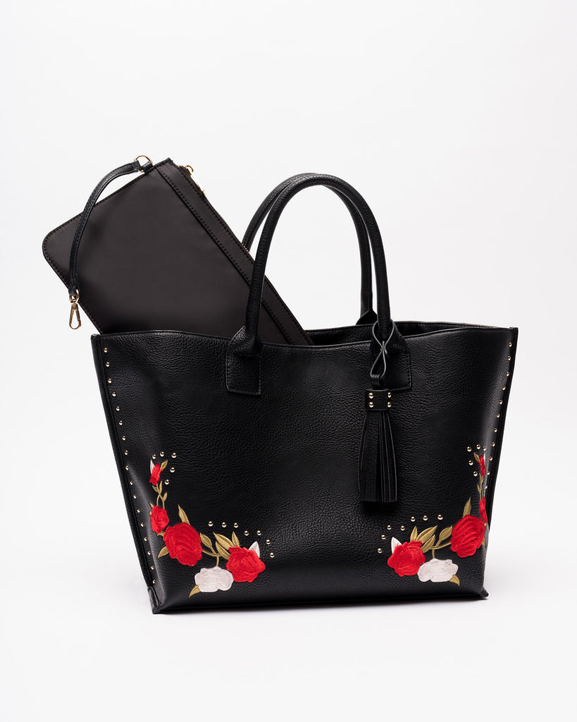 Jami - Vegan Leather Embroidered Convertible Tote