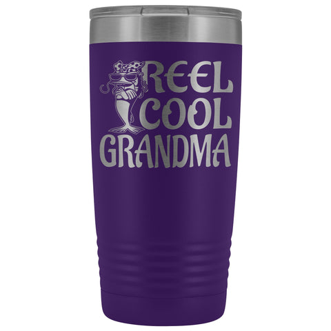 Reel Cool Grandma Fishing 20oz Tumbler purple