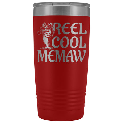 Reel Cool Memaw Fishing 20oz Tumbler red