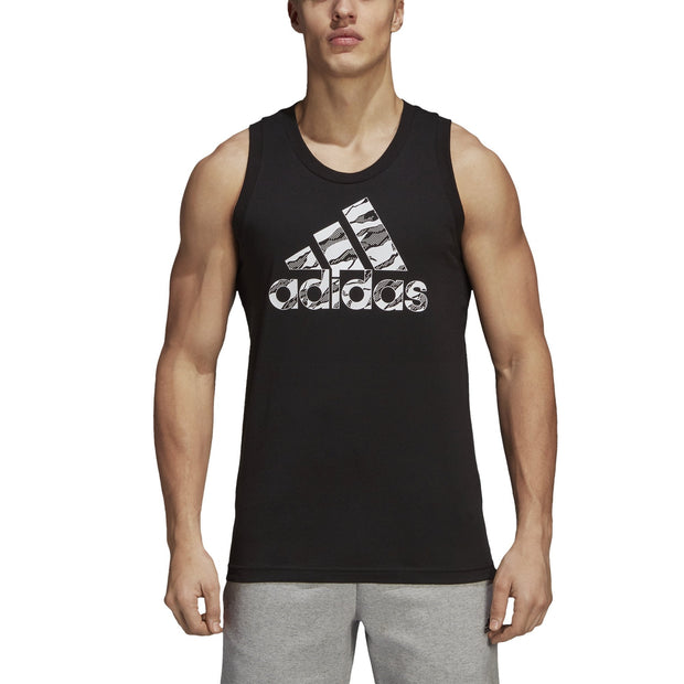 ADIDAS MEN'S BADGE OF SPORT CAMOUFLAGE BLACK TANK TOP - INSPORT
