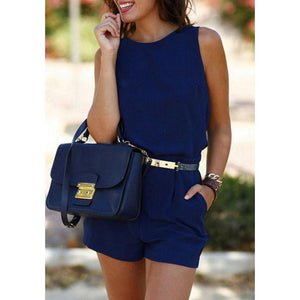 Round Neck  Backless  Belt  Playsuits