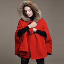 Hooded Fur Poncho Wool Coat  Loose Poncho Outwear