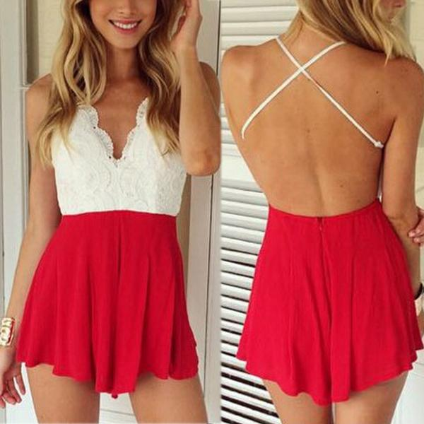 Back Cross V-Neck Halter Playsuit