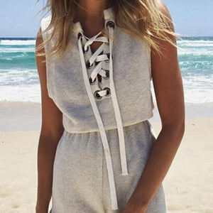 Summer Sleeveless Beach Bandage Shorts Playsuit