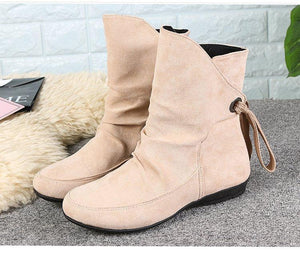 Casual Low Heel Suede Belt Buckle Middle Boots