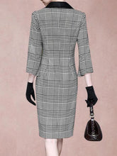 Fold-Over Collar  Plaid Bodycon Dress