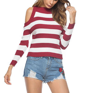 New Off-The-Shoulder Striped Sweater
