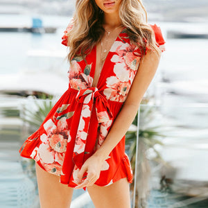 Sexy Deep V Collar Lotus Leaf Short-Sleeved Printed Short Playsuit With Belt