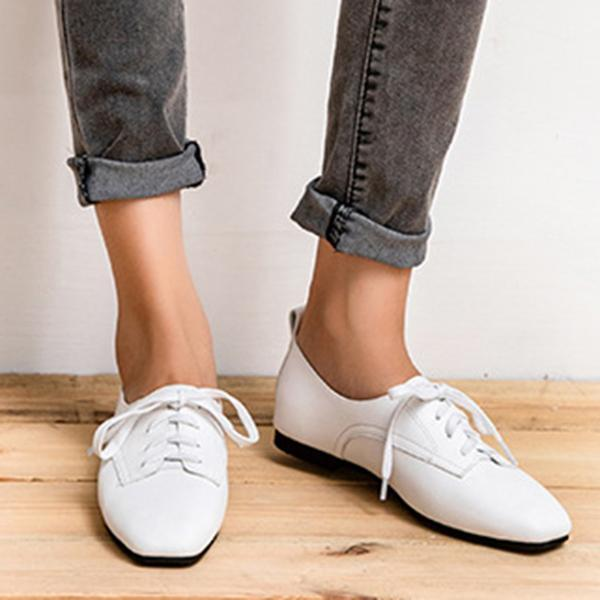 Leisure Square Head Flat Shoes