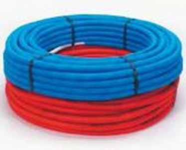 Tube multicouche en couronne 20x2-50m-gainé rouge -Alpex-FLEX