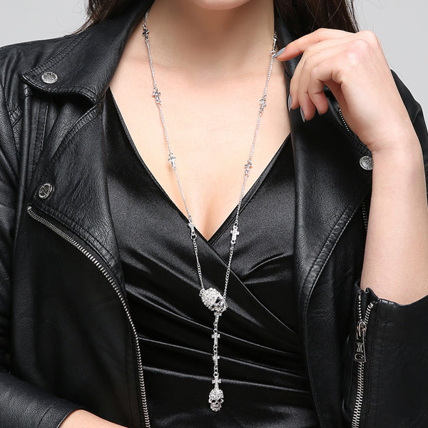 Skull Cross Crystal Pendant Necklace