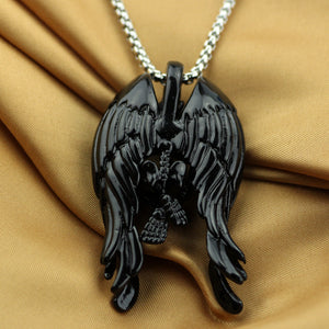Skeleton DevAngel Wings Pendant Necklace - The Creative Booth