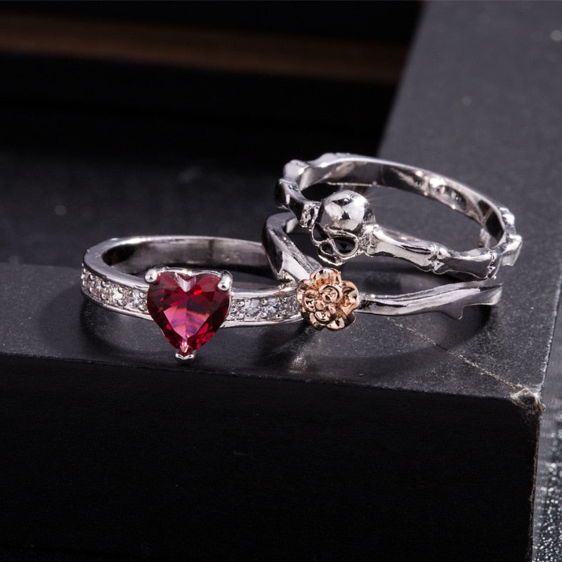 Heart Rose Skull Ring (3 Pieces) Bundle - Get 3 for 65% OFF + Free Shipping!