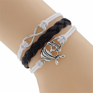 Skull and Infinity Braided Leather Bracelet