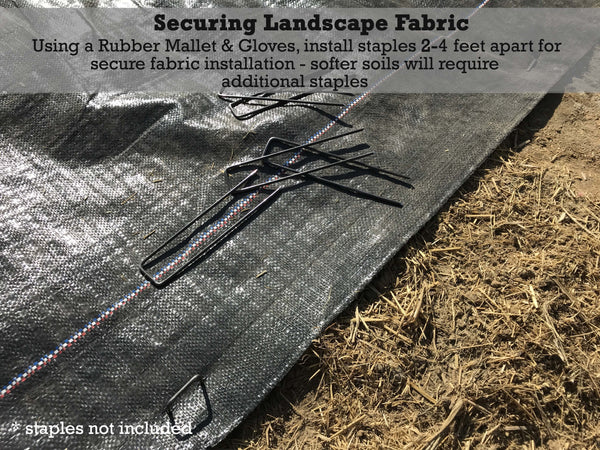 Securing Landscape Fabric: Using a rubber mallet and gloves, install staples 2-4 feet apart for secure fabric installation - softer soils will require additional staples