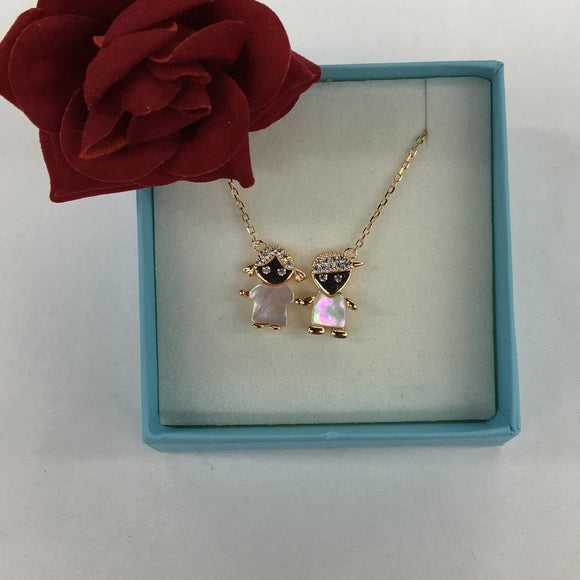 Rose Twin Girl Necklace