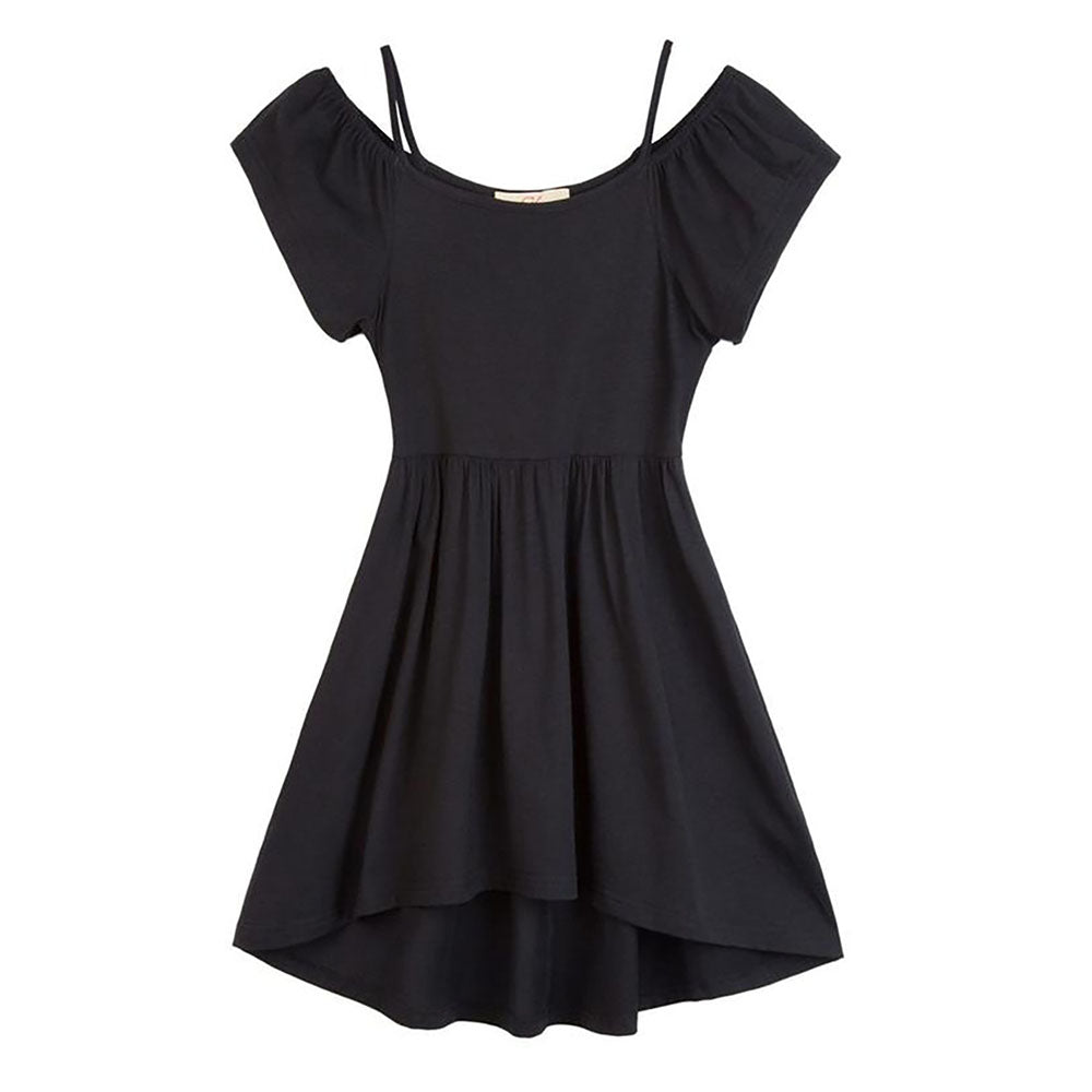 Children Black Spaghetti Straps Cold Shoulder A-Line Girl's Dress