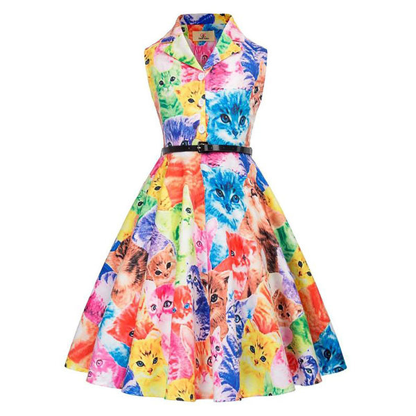 Colorful Cats Pattern Sleeveless Flared A-Line Girl's Dress with Belt