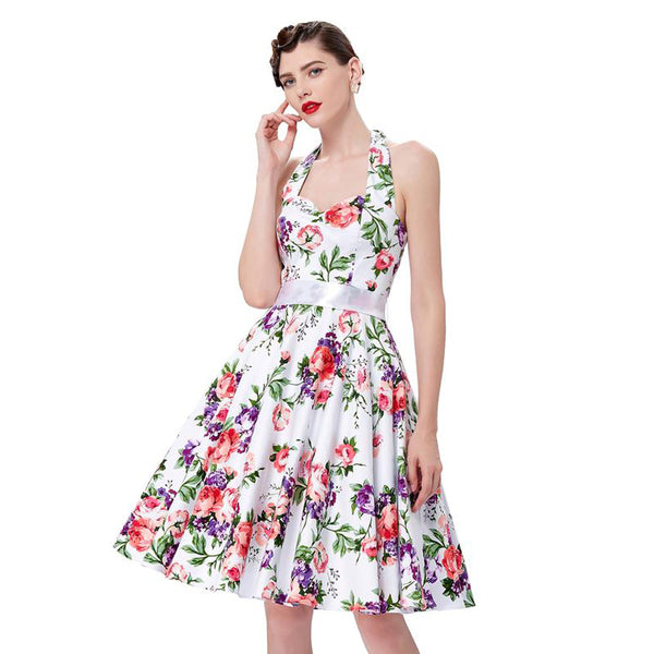 Robe à fleurs Swing Tea - Halter Style Sweetheart