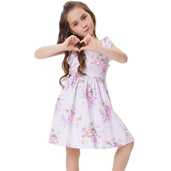 Children Kids Floral Pattern Sleeveless Cross Back Cotton Girl's Party Dress