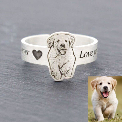 customized pet photo ring handmade 100% sterling silver for pet owner gift