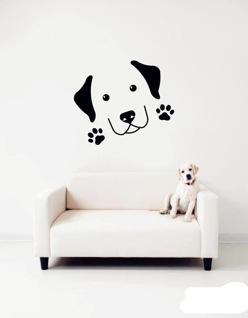 Removable Dog Head Paw Prints Wall Stickers