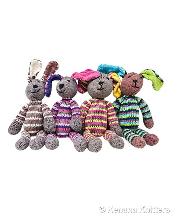 Knitted Cotton Rainbow Rabbit (Small)