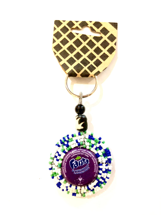 KEYRING BOTTLE TOP BEADED