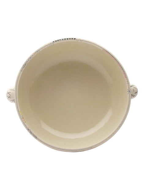 Deep porcelain bowl with handles and mishima drawings handmade by artist Michelle Summers.