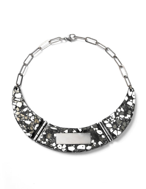 Marbled black and white resin choker necklace handmade by artist Etta Kostick.