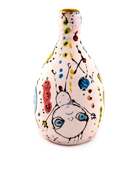 Tall vase with illustrative surface handmade by artist Carrie Day.