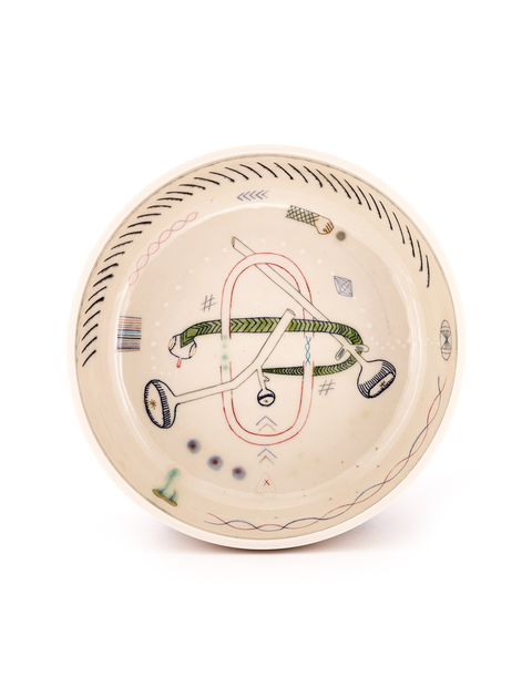 Deep porcelain bowl with surrealist mishima drawings on the interior handmade by artist Michelle Summers.
