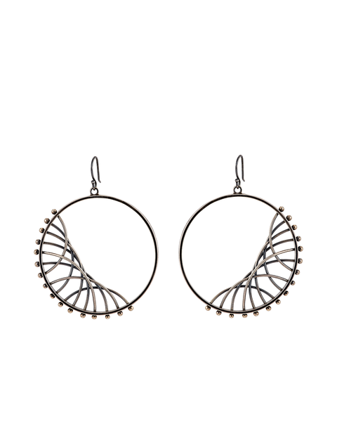 Geometric circle drop earrings handmade by artist Nikki Nation.