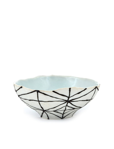 small porcelain bowl with graphic lines handmade by mary drabik