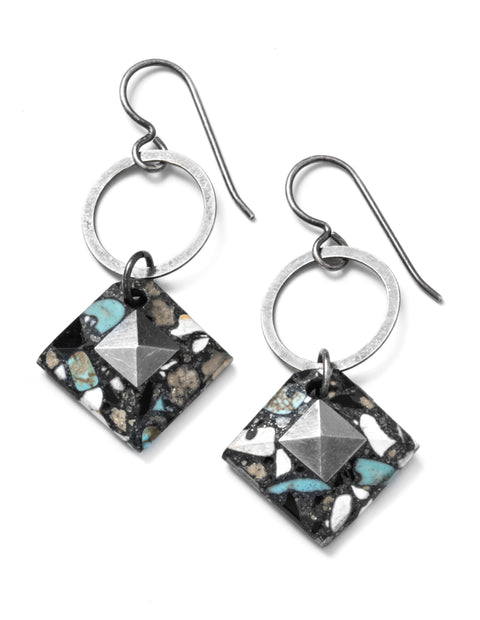 Marbled black and white resin drop dangle earrings handmade by artist Etta Kostick.