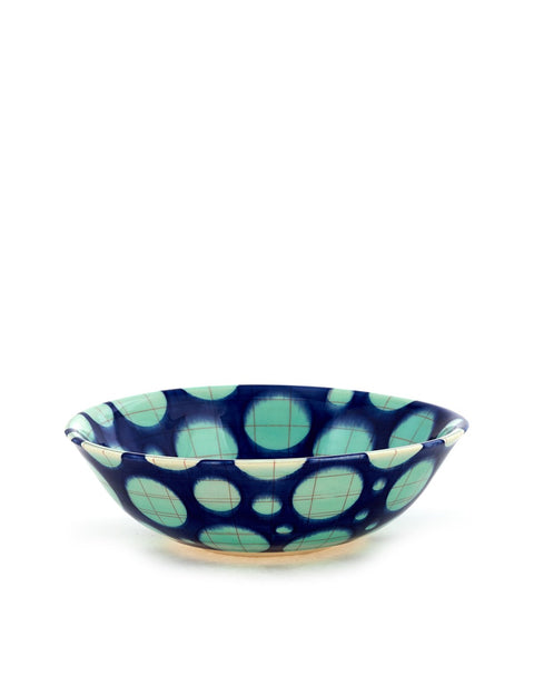 Mid-range porcelain flared bowl with layers of geometric surface design handmade by Rachel Donner.