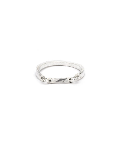 Delicate sterling silver chain ring handmade by Maura Lenahan.