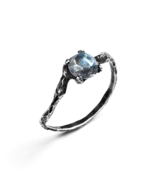 Delicate oxidized sterling silver ring with labradorite crystal handmade by Aimee Petkus