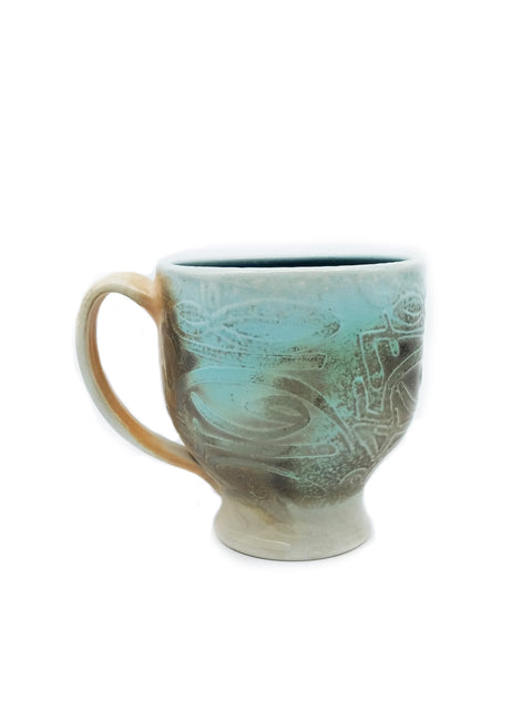 Aqua Blue Metallic Number Cup