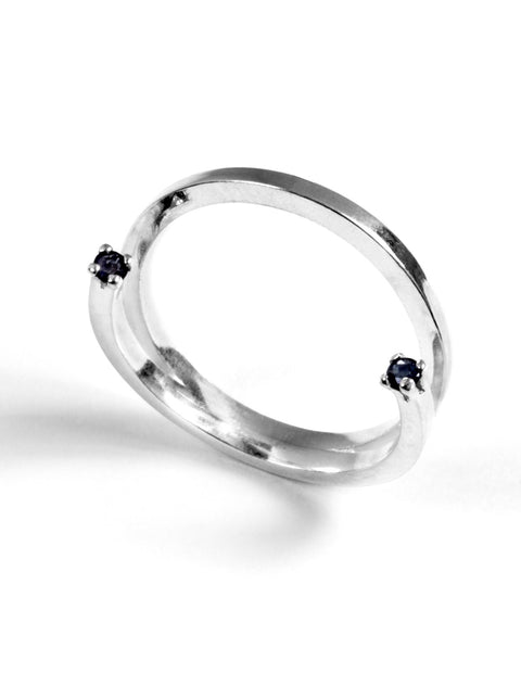 Delicate sterling silver stack ring with sapphire gemstones handmade by Maura Lenahan.