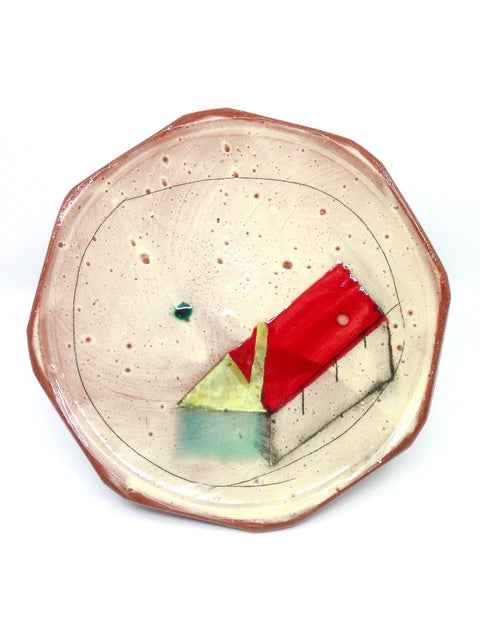 Wheel-thrown plate in earthenware with painted underglaze, handmade by Michael Connelly.